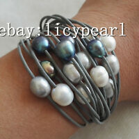 15 Reihe 10-11mm kultiviert Weiß grau schwarz Barock Süßwasser Perlen armband