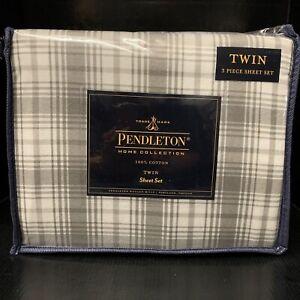 Pendleton Home Collection 100% Cotton Flannel Twin Sheet Set, Gray Plaid 3-Piece