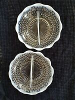 Anchor Hocking 1950's Hobnail Moonstone Opalescent Divided Dish- Set of 2 dishes
