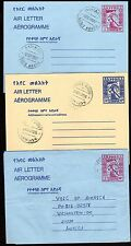 ETHIOPIA 1987 THREE AIR LETTER TWO ARE FDC ON USED TO U.S 3 DIFFERENT ISSUES