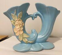 Vintage Weller Pottery Vase FLOWER BLOSSOM Pattern Blue Double Horn