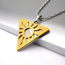 "Silver Gold Egyptian Pyramid Triangle Sun Pendant 60cm 24"" Mens Chain Necklace"