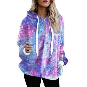 Womens Winter Warm Teddy Bear Jumper Fluffy Fleece Tie Dye Sweater Pullover Tops