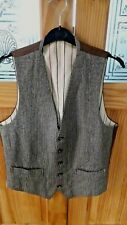 """S/M 38"""" CHEST TRUE VINTAGE TWEED WAISTCOAT STEAMPUNK CHAP LINED GREAT COND"""