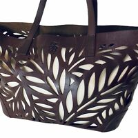 Tommy Bahama Palm Cage Cut Out Leather Shoulder Tote Bag