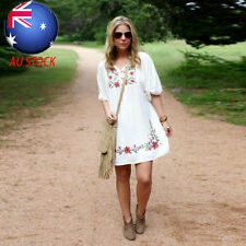 AU Women Mexican Ethnic Embroidered Pessant Hippie V-Neck Gypsy Boho Mini Dress