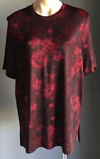 Gorgeous TARGET Maroon Black Floral Roses Print Stretch Short Sleeve Top Size 16