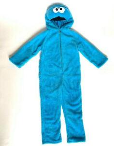 Cookie Monster Kids L 4-6 Blue Plush Full Body Halloween Costume Sesame Street