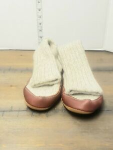 Acorn Slipper Socks Mens 10.5 -11.5 gray  Wool & Leather Sole New without box