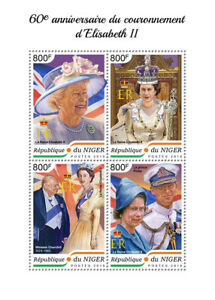 Niger Royalty Stamps 2018 MNH Queen Elizabeth II Coronation 65th Anniv 4v M/S