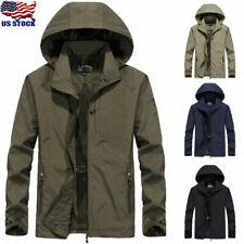 Men's Windproof Waterproof Combat Jacket Outdoor Hiking Hooded Rain Coat Outwear