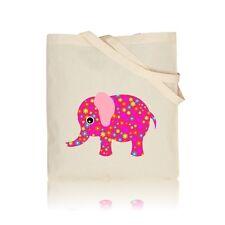 Floral Pink Elephant - 100% Natural Cotton Shoulder Tote Shopping Gym Book Bag