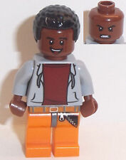 Lego Male Minifigure x 1 Boy Man with Black Hair & Red Brown Dual Sided Face