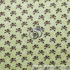 BonEful Fabric FQ Cotton Quilt Flannel BABY SKULL Green Brown Gothic Pirate Boy
