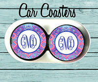 Personalized Car Coaster,Lilly Pulitzer Inspired, Monogrammed Car Coaster, Gift