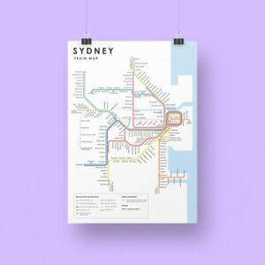 Sydney City Train Map Poster with updated Metro South West and Western Airport