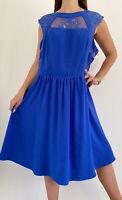 CITY CHIC Cobalt Blue Lace Neckline Cap Sleeve Midi Dress Plus Size M AU 18