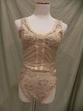 Caribbean Queen Women's Tan Lace Bodysuit Size L NEW