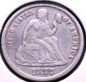 1877 CC 10C Seated Liberty Silver Dime BU Condition? Circulated Coin