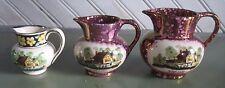 VINTAGE GRAYS POTTERY Silver & purple lustre 3 jugs pitchers creamers Ye Old Inn