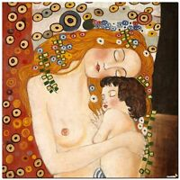 Stunning Classic Art ~ Mother and Baby by Gustav Klimt ~ CANVAS PRINT 24x24""