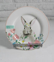 "Ciroa Easter Bunny Floral 4 Side Plates 8"" Porcelain White Pink Rim New"