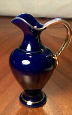Cobalt Blue Ceramic Vase with Gold Trim and Handle. AWF Halden Made in Norway