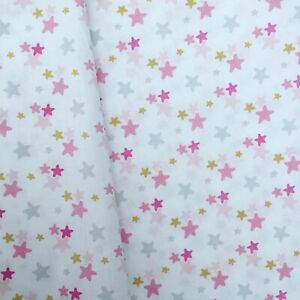 Pink gold star stars blender nursery fabric 100% COTTON 150CM WIDE HALF METRE