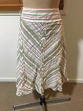Laura D Plus Size 20 White Green Red Stripes Cotton Knee Length A-line Skirt