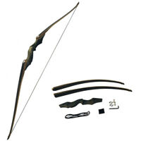 "60"" Archery Longbow Takedown American Hunting Recurve Bow 25-60lbs Bamboo Core"
