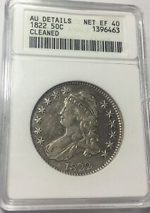 1822 BUST 50C ANACS AU DETAILS O-105 R.3 SCARCE AND IN AN OLD WHITE HOLDER