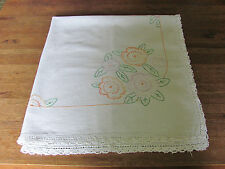 VINTAGE HAND EMBROIDERY CROCHET & MACHINE STITCHED CAFE TABLE CLOTH
