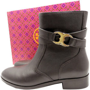 Tory Burch Gemini Riding Boots Ankle  Booties 10.5 Gold Logo Tumbled Leather