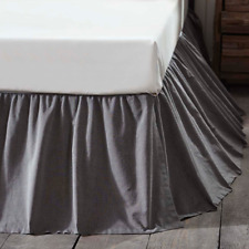 Black Chambray King Bed Skirt Rustic Primitive Lodge Cabin Ruffle Vhc Brands