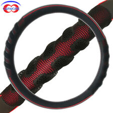 "Car Steering Wheel Cover 15"" Black and Red Syn Leather TPE Massage Odorless"