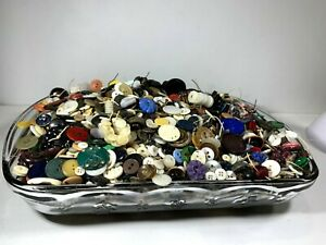 Large Mixed Lot of Vintage and Antique Buttons 8.5 Pounds - All Kinds Unsorted