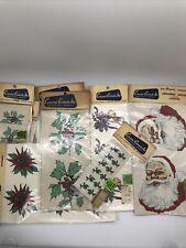 Vtg mixed lot of Holiday Christmas Ceramic Decals Bell Santa Holly Poinsettia