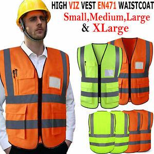 Hi Vis High Visibility Safety Viz Vest Waistcoat with Phone & ID Pockets Yellow