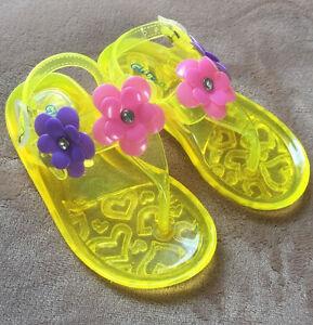 Glitz N Glam Brand Yellow Baby Girls Flip Flops Size 8 New