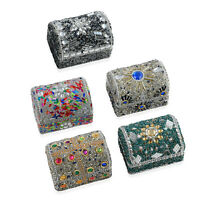 Multi Color Set of 5 Beaded Mini Chest Portable Jewelry Organizer Box Storage