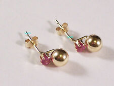 New Ladies 9ct 9Carat Yellow Gold Ball & Ruby Claw Studs Earrings 4mm Hallmarked