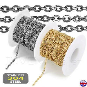 STAINLESS STEEL Flat Cable Link Chain Necklace Hypoallergenic JEWELLERY MAKING