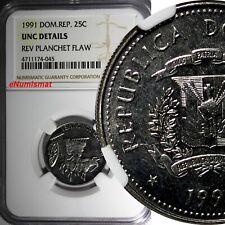 DOMINICAN REPUBLIC 1991 25 Centavos NGC UNC DETAILS Native Culture KM# 71.1