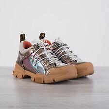 GUCCI 980$ Flashtrek Sneakers In Multicolor Metallic Leather