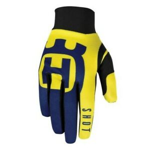 Shot 2020 Motorcycle Motocross Adult Aerolite Gloves Husqvarna Blue Yellow