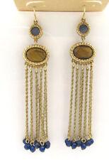 Lauren Ralph Lauren Gold Tone Tiger's Eye Blue Bead Fringe Linear Earrings