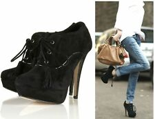 😊  TOPSHOP BLACK SUEDE LEATHER LACE UP PLATFORM PATENT HEEL TASSEL ANKLE BOOTS