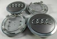 4 Pcs 69mm AUDI Grey Wheel Center Caps Logo Emblem Badge Hub Caps Rim Caps