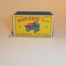 Matchbox Lesney  2 c Muir Hill Dumper empty Repro D style Box