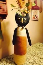 PRIMITIVE CANDY CORN BLACK CAT PLUSH DOLL FIGURE HALLOWEEN HARVEST FALL DECOR